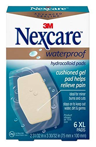 Nexcare Advanced Healing Waterproof Hydrocolloid Pads, 6 XL Pads (Pack of 3)