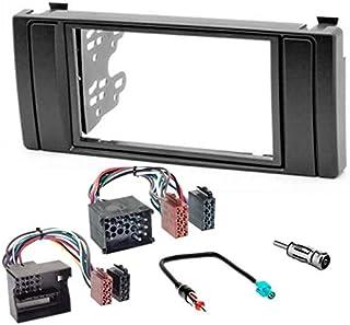 Sound way 2 DIN Autoradio Radioblende RadioRahmen, ISO Verbindungskabel, Antennenadapter, kompatibel mit BMW 5er Serie, BMW X5