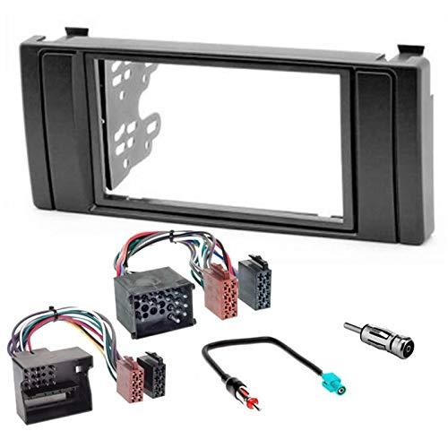 Sound-way Kit Montaje Autoradio, Marco 2 DIN Radio para Coche, Soportes de Montaje, Cable Adaptador Conector ISO, Adaptador Antena, compatible con BMW Serie 5, BMW X5