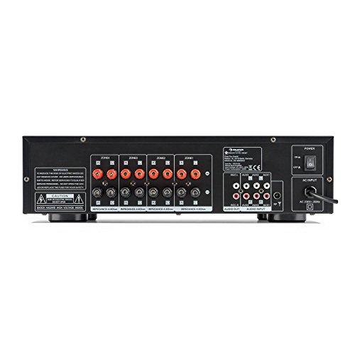 auna AV2-CD850BT - Hi-Fi Stereo-Verstärker, 4-Zonen, 8 x 50 Watt RMS, Bluetooth, USB-Port, 3 x Stereo Cinch-Line-Eingang, Power LED, Funkfernbedienung mit 30 m Reichweite, schwarz