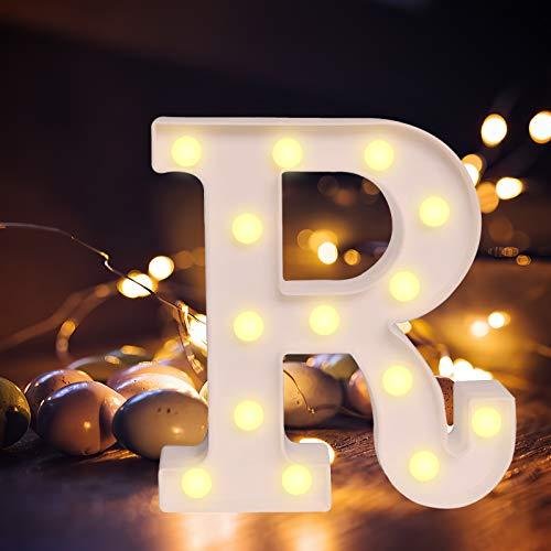 Light Up Letters,Alphabet LED Letter Lights Warm White Night Light Letters for Home Party Bar Wedding Festival Decorative (R)