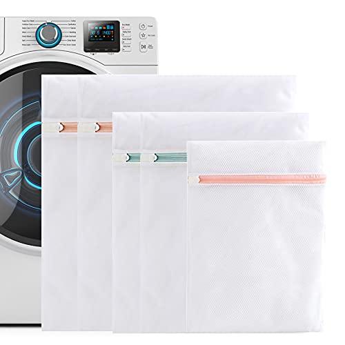 LYYDAN 5 sacchi per il bucato, borsa da viaggio in rete per bucato a colori riutilizzabile con cerniera per cappotti, maglioni, pantaloni, camicie, t-shirt per lavatrice
