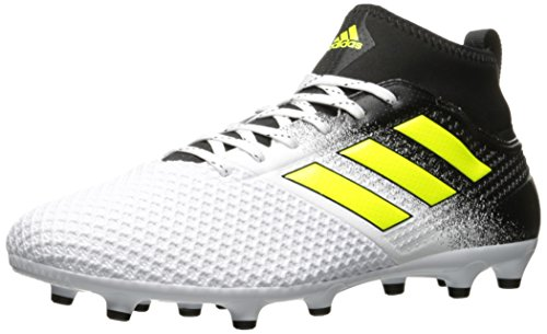 adidas Men's Ace 17.3 Firm Ground Cleats Soccer Shoe, White/Solar Yellow/Black, (12 M US)