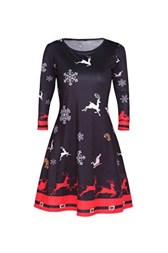 Dongpai Women's Christmas Santa Claus Party Dress Casual Long Sleeve Round Neck Tunic Dress