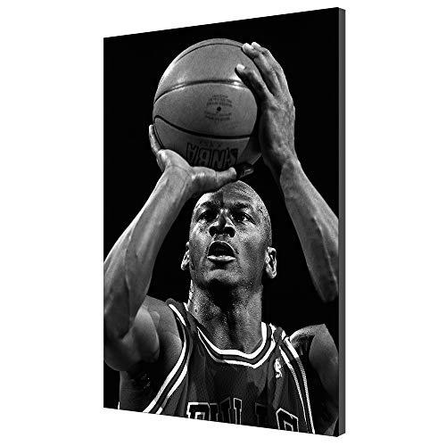 Karen Max Schwarz Und Weiß Wandkunst Kunstwerk Wohnkultur Giclée-Druck Leinwand Poster Bild Michael Jordan Schießen Basketball Malerei (Kein Rahmen,60x90cm)