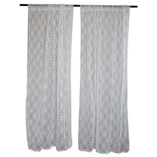 DII Sheer Lace Decorative Curtain Panels for Bedroom, Living Room, Guest Room, or Formal Sitting Areas, Light & Airy to Filter Sunlight Into Room, (Set of 2, 50 x 63) White Lattice