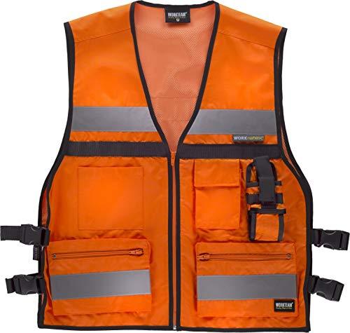 Work Team Chaleco de alta visibilidad con ajustes laterales, multibolsillos, dos cintas reflectantes. HOMBRE Naranja A.V. UNICA