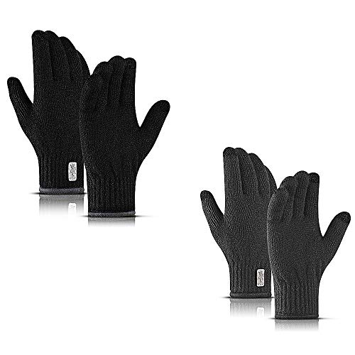 Winter Gloves Touch Screen Running Gloves- Thermal Warm Liners for Cycling & Driving - Thick, Lightweight & Warm Sports Hand Gloves - Touch Screen Smartphone 2 Pairs Black&Gray
