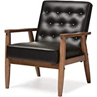 Retro Modern Wooden Accent Club Faux Leather Lounge Chair (Brown)