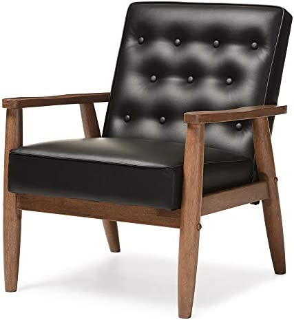Best Baxton Studio Sorrento Mid-Century Retro Modern Faux Leather Upholstered Wooden Lounge Chair, Black
