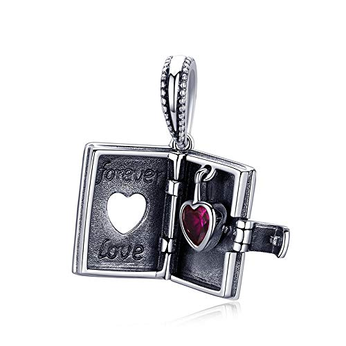 Forever Love Box 925 Sterling Silver Forever Love Box Pendant Heart Book Shape Charms Fit Charm Bracelets & Necklace Silver Jewellery