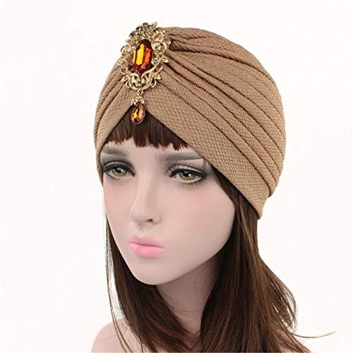 Nvshiyk Turbante para Mujer Señoras turbantes Sombrero aleación Colgante Accesorio Sombrero 3 unids Envoltura retorcida (Color : Camel, Size : One Size)