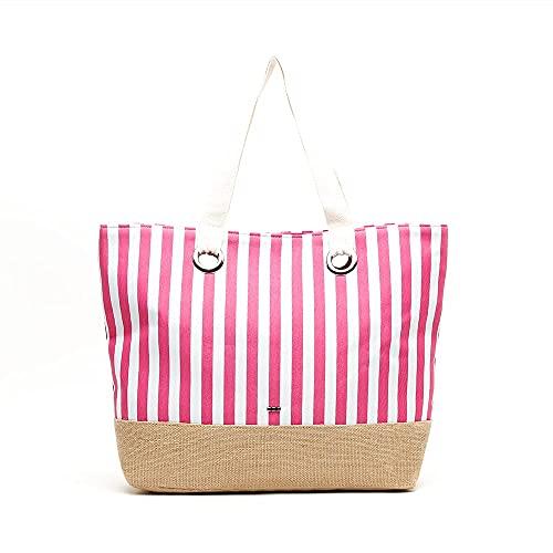 MISAKO Bolso Rafia Mujer LAY | Bolso Grande Rosa Blanco Beige de Playa | Bolso Shopper con Asa XXL Cierre Cremallera para Mujer - 40x57x14cm