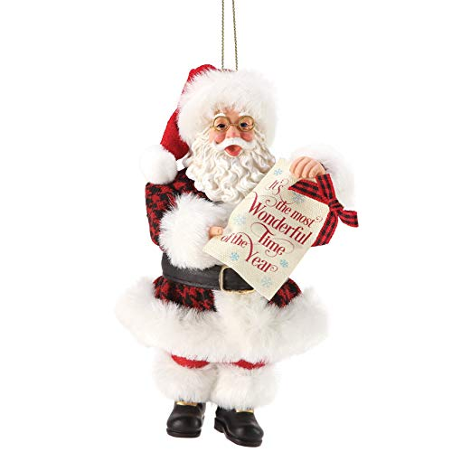 Department 56 Possible Dreams Santa Most Wonderful Time Hanging Ornament, 6 Inch, Multicolor