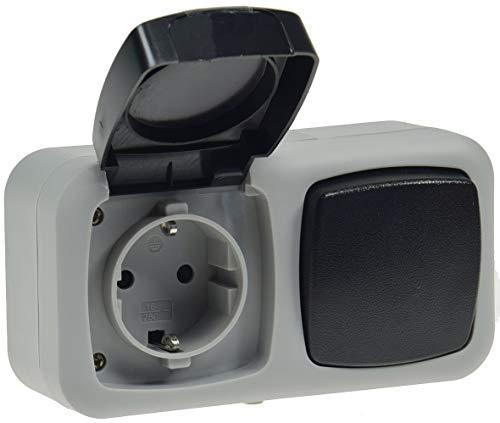 Feuchtraum Kombination Schalter/Steckdose horizontal Aufputz Montage Installation 250V / 10A / 16A IP44 spritzwasser geschützt für Keller, Carport, Garage