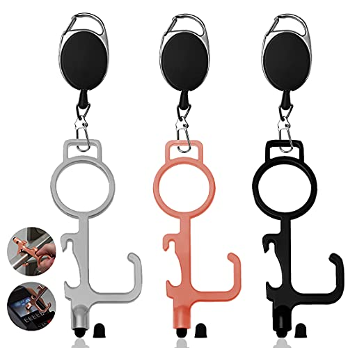 No Touch Door Opener Tools 3 Pcs Non Contact with Retractable Keychain Handheld EDC Cootie Key Keyring for Public Surfaces,Touchscreens, Handles