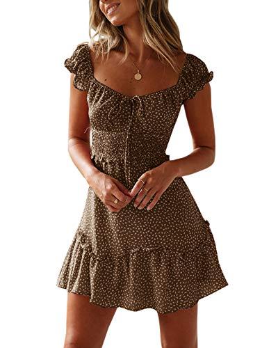 Ybenlover Damen Blumen Sommerkleid High Waist Volant Kleid Vintage Minikleid Strandkleid, Khaki, L