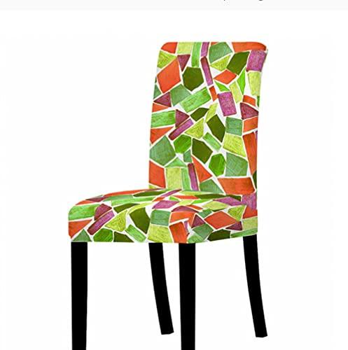 Fundas de silla para comedor, elástico elástico para silla, tela de elastano, lavable y extraíble, fundas de asiento con patrón geométrico irregular