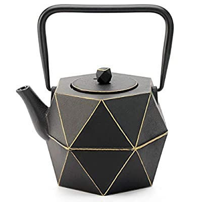 Tea Kettle, TOPTIER Japanese Cast Iron Teapot with Stainless Steel Infuser, Cast Iron Tea Kettle Stovetop Safe, Diamond Design Teapot Coated with Enameled Interior for 30 oz (900 ml), Black