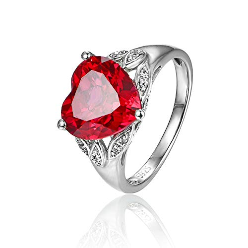 ATTA GEMS Heart Shape Created Red Ruby Sterling Silver Promise Wedding Engagement Ring for Women - Size 7