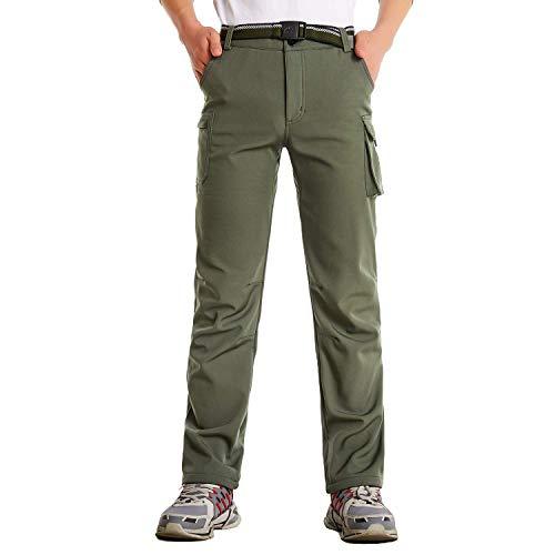 JOMLUN Boy's Outdoor Ski Pants Softshell Fleece Waterproof Hiking Trousers Army Green