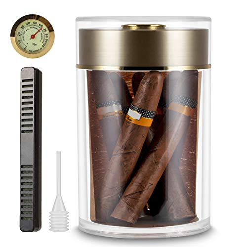 XIFEI Acrylic humidor Jar with humidifier and Hygrometer, Cigar humidor That can Hold About 15-18 Cigars (Golden)