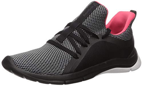 Reebok Women's Print Her 3.0 Running Shoe, Black/White/HYPPNK, 7 M US