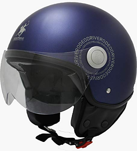 Rodeo Drive RD104N Plus Casco Scooter Demi Jet Color, Azul, XS