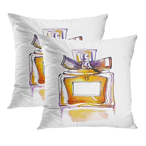 LLZQJ-DAA Set mit 1 Kissenbezügen Bunte Aquarellflasche Parfüm Aftershave Aquarelle Aroma Künstlerisches Wohnzimmer Sofa Schlafzimmer Polyester Versteckte Reißverschluss Kissenbezüge