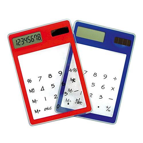 N-K PULABO Calculadora de energía solar portátil con pantalla táctil transparente LCD 8 dígitos teclado electrónico azul, naranja,...