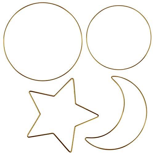 Rainmae 4 Stück Metall Ringe Sternform Handwerk Drahtringe aus Eisen,Ideal für Traumfänger, Makramee, Trockenblumen, Wanddeko Hochzeit Dekor, DIY Handwerk Basteln 20cm 25cm 30cm (Gold)