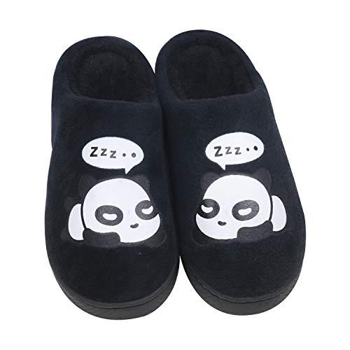 QZBAOSHU Damen Hausschuhe Panda Schuhe Hausschuhe Herren 39/40 EU (Etikettengröße 40/41) Schwarz
