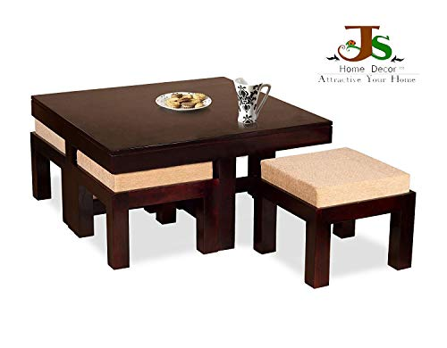 JS Home Decor Wooden Coffee Table with 4 Stools for Living
