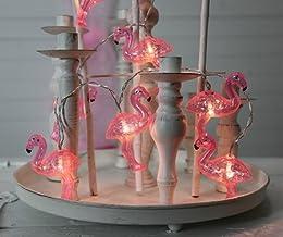 Flamingos Kamaca LED Party Lichterkette mit 10 rosa Flamingos und 10 warm weissen LED batteriebetrieben inklusive Timer