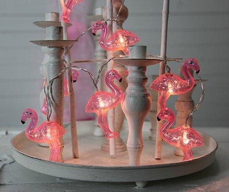 Kamaca LED Party Lichterkette mit 10 rosa Flamingos und 10 warm weissen LED batteriebetrieben inklusive Timer (Flamingos)
