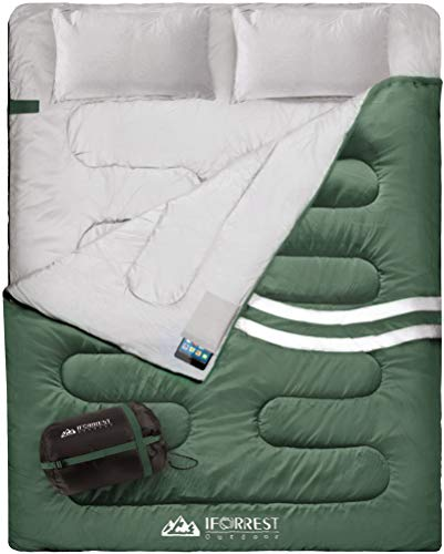 IFORREST Double Sleeping Bag - 2 Person Cold Weather Camping Bed, Extra-Wide & Warm (3-4 Seasons), King Size XXL with 2 Upgraded Twin Pillows