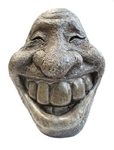 Monsterzeug Steinkopf Smiley, lachende Steinfigur als Garten Deko, bruchfestes Kunstharz, witterungsbeständig, frostsicher, Gesicht Gartenskulptur, Schiefergrau