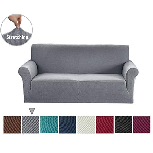 Argstar Jacquard Sofa Slipcover, Light Gray Stretch Couch Slip Cover, Spandex Furniture Protector for 3 Cushion Seater, Sofa Cover for Living Room, Machine Washable