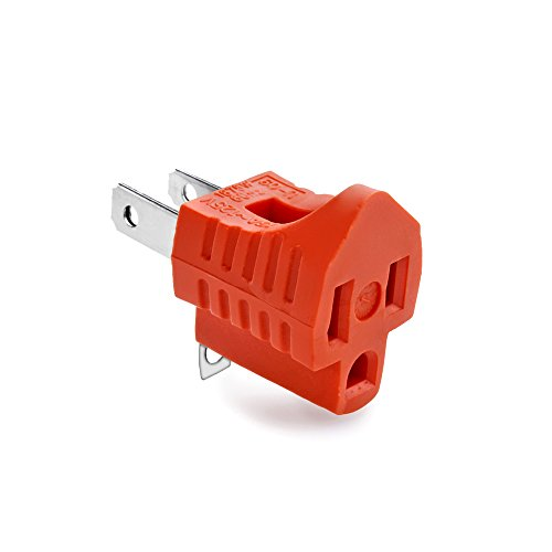 Flexzion 3-Prong to 2-Prong Adapter - 3 Pin to 2 Pin Power AC Ground Lifter Electrical Outlet Grounding Wiring Plug Socket Converter Extension (Orange)