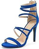 DREAM PAIRS Women's Show Royal Blue High Heel Dress Pump Sandals - 7 M US