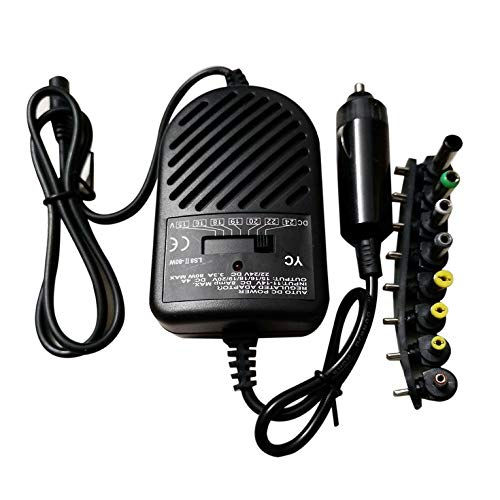 Universal 80W DC Car Charger Power Adapter With 8 Ports For Laptop Notebook Computer PC 15~24V Variable Voltage - Black