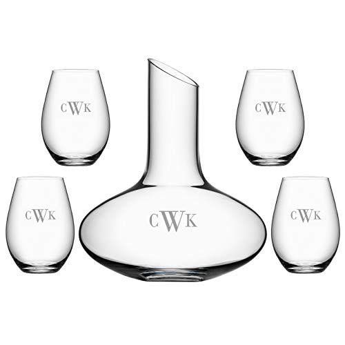 Orrefors Enjoy Personalized Crystal Decanter Set/Custom Engraved Decanter with Four Stemless Wine Glasses for Wine, Water, Juice