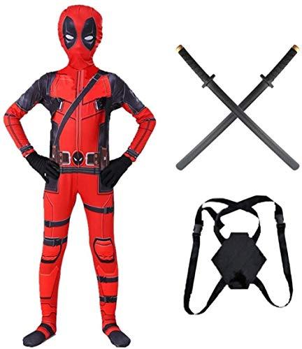 Deadpool - Disfraz de superhéroe para cosplay con espadas de poliuretano para niños, adultos, Halloween, Navidad, fiesta, película de disfraces (140-150 cm)