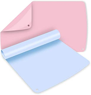 """Non-Slip Silicone Placemats for Kids Baby Placemats Macaron Placemats Dishwasher Safe 2 Pack 19.7""""x 11.8"""" Light Blue&Pink"""
