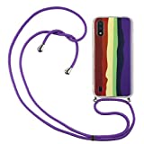 Crossbody Case for Huawei P Smart 2021 with Adjustable Lanyard Cord Detachable Rope, Shockproof Rainbow Ultra Thin Clear Cover Soft Lanyard Flexible Gel TPU Bumper Protective Phone Case Brown purple