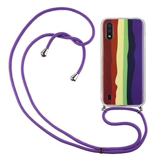 Crossbody Case for iPhone 12 Pro Max with Adjustable Lanyard Cord Detachable Rope, Shockproof Rainbow Ultra Thin Clear Cover Soft Lanyard Flexible Gel TPU Bumper Protective Phone Case Brown purple