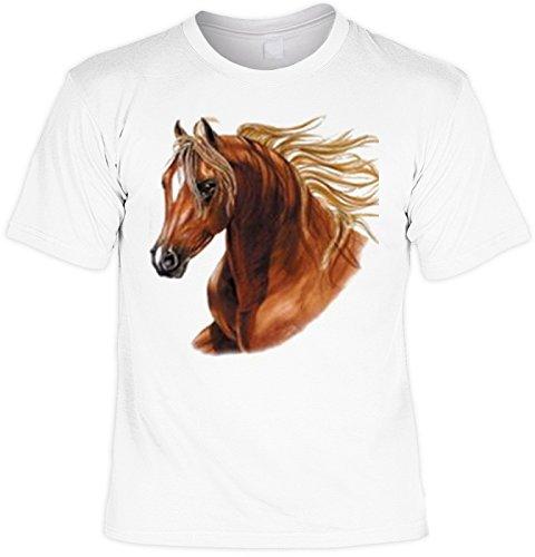 Araber Pferd Fuchs mit wehender Mähne: Horse - Pferde Motiv Shirt/T-Shirt Pferd Gr: S