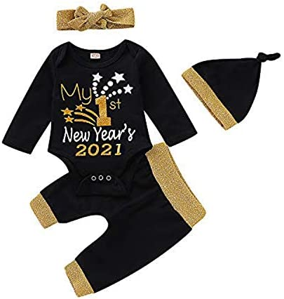 Infant Girl Outfit My 1st New Year 2021 Romper Black Pants with Headband and Hat 3 6 Months product image
