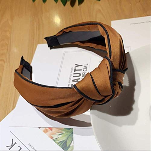 TSEINCE Fashion Hair Accessories Women's Middle Knotted Black Side Headband Wild Toothed Non-Slip Headband Wash Hair Band Girl Headwear Caramel