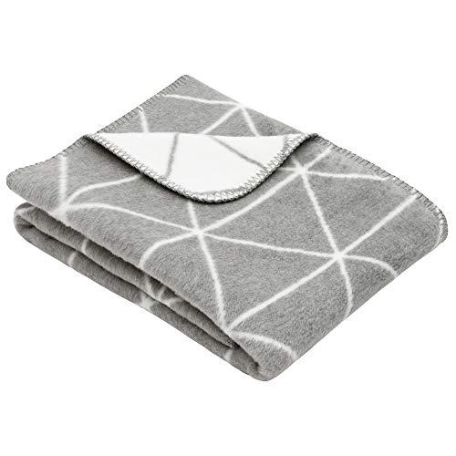 Ibena Mandal Kinderdecke 75x100 cm – Babydecke grau wollweiß mit Rautenmuster, hoher Baumwollanteil kuschelig weich und angenehm warm